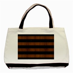 Stripes2 Black Marble & Brown Wood Basic Tote Bag (two Sides) by trendistuff