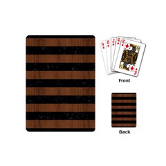 Stripes2 Black Marble & Brown Wood Playing Cards (mini) by trendistuff