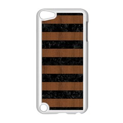 Stripes2 Black Marble & Brown Wood Apple Ipod Touch 5 Case (white) by trendistuff