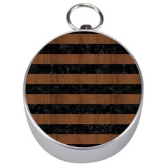 Stripes2 Black Marble & Brown Wood Silver Compass by trendistuff