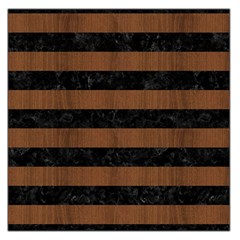 Stripes2 Black Marble & Brown Wood Large Satin Scarf (square) by trendistuff
