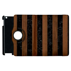 Stripes1 Black Marble & Brown Wood Apple Ipad 3/4 Flip 360 Case by trendistuff