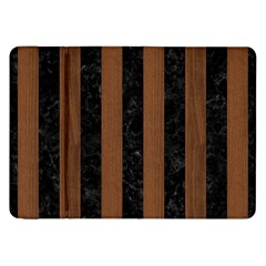 Stripes1 Black Marble & Brown Wood Samsung Galaxy Tab 8 9  P7300 Flip Case by trendistuff