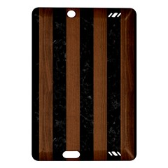 Stripes1 Black Marble & Brown Wood Amazon Kindle Fire Hd (2013) Hardshell Case by trendistuff
