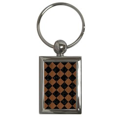 Square2 Black Marble & Brown Wood Key Chain (rectangle) by trendistuff