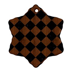 Square2 Black Marble & Brown Wood Snowflake Ornament (two Sides) by trendistuff