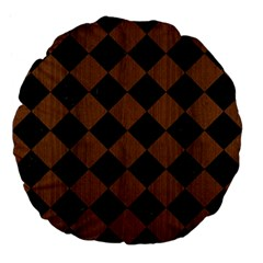 Square2 Black Marble & Brown Wood Large 18  Premium Flano Round Cushion  by trendistuff