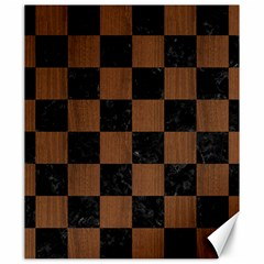 Square1 Black Marble & Brown Wood Canvas 20  X 24