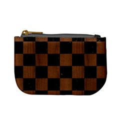 Square1 Black Marble & Brown Wood Mini Coin Purse by trendistuff