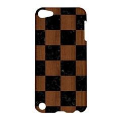 Square1 Black Marble & Brown Wood Apple Ipod Touch 5 Hardshell Case by trendistuff
