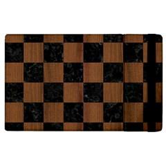 Square1 Black Marble & Brown Wood Apple Ipad 3/4 Flip Case by trendistuff