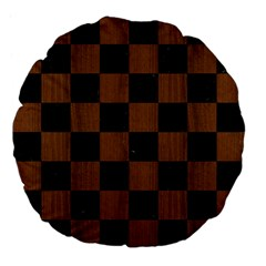 Square1 Black Marble & Brown Wood Large 18  Premium Flano Round Cushion  by trendistuff