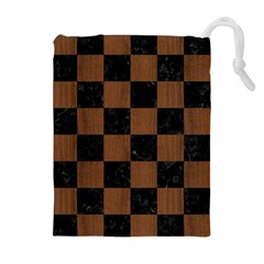 Square1 Black Marble & Brown Wood Drawstring Pouch (xl) by trendistuff