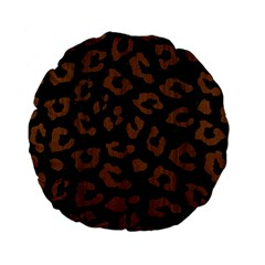 Skin5 Black Marble & Brown Wood (r) Standard 15  Premium Flano Round Cushion  by trendistuff