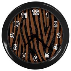 Skin4 Black Marble & Brown Wood (r) Wall Clock (black) by trendistuff