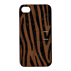 Skin4 Black Marble & Brown Wood Apple Iphone 4/4s Hardshell Case With Stand by trendistuff