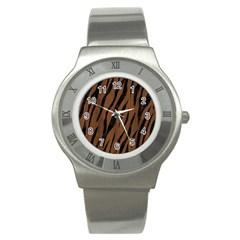 Skin3 Black Marble & Brown Wood (r) Stainless Steel Watch by trendistuff