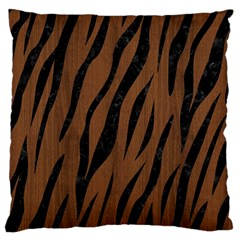 Skin3 Black Marble & Brown Wood (r) Large Flano Cushion Case (one Side) by trendistuff