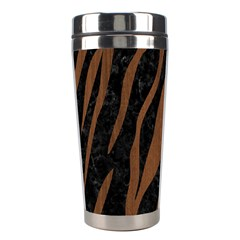 Skin3 Black Marble & Brown Wood Stainless Steel Travel Tumbler by trendistuff