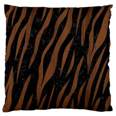 Skin3 Black Marble & Brown Wood Large Flano Cushion Case (two Sides) by trendistuff