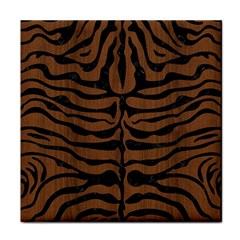 Skin2 Black Marble & Brown Wood (r) Tile Coaster