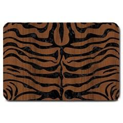 Skin2 Black Marble & Brown Wood (r) Large Doormat by trendistuff