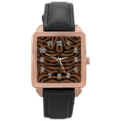 Skin2 Black Marble & Brown Wood (r) Rose Gold Leather Watch  by trendistuff