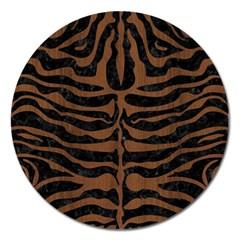 Skin2 Black Marble & Brown Wood Magnet 5  (round) by trendistuff