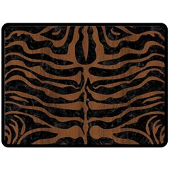Skin2 Black Marble & Brown Wood Double Sided Fleece Blanket (large) by trendistuff
