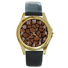 Skin1 Black Marble & Brown Wood Round Gold Metal Watch by trendistuff