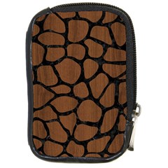 Skin1 Black Marble & Brown Wood Compact Camera Leather Case by trendistuff