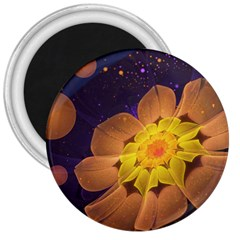 Beautiful Violet & Peach Primrose Fractal Flowers 3  Magnets by jayaprime