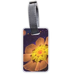 Beautiful Violet & Peach Primrose Fractal Flowers Luggage Tags (one Side)  by jayaprime