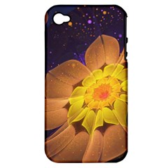 Beautiful Violet & Peach Primrose Fractal Flowers Apple Iphone 4/4s Hardshell Case (pc+silicone)