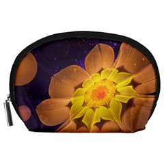 Beautiful Violet & Peach Primrose Fractal Flowers Accessory Pouches (large)  by beautifulfractals