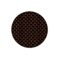 Scales3 Black Marble & Brown Wood Rubber Coaster (round) by trendistuff