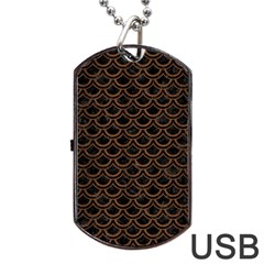 Scales2 Black Marble & Brown Wood Dog Tag Usb Flash (one Side) by trendistuff