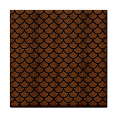 Scales1 Black Marble & Brown Wood (r) Tile Coaster by trendistuff
