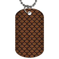 Scales1 Black Marble & Brown Wood (r) Dog Tag (two Sides) by trendistuff