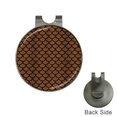 Scales1 Black Marble & Brown Wood (r) Golf Ball Marker Hat Clip by trendistuff