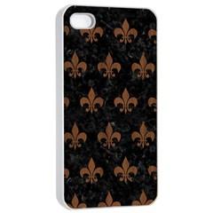 Royal1 Black Marble & Brown Wood (r) Apple Iphone 4/4s Seamless Case (white) by trendistuff