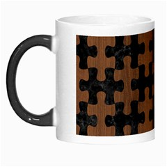 Puzzle1 Black Marble & Brown Wood Morph Mug by trendistuff