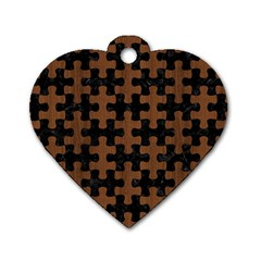 Puzzle1 Black Marble & Brown Wood Dog Tag Heart (two Sides) by trendistuff