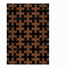 Puzzle1 Black Marble & Brown Wood Small Garden Flag (two Sides) by trendistuff