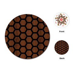 Hexagon2 Black Marble & Brown Wood (r) Playing Cards (round) by trendistuff