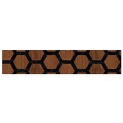 Hexagon2 Black Marble & Brown Wood (r) Flano Scarf (small) by trendistuff