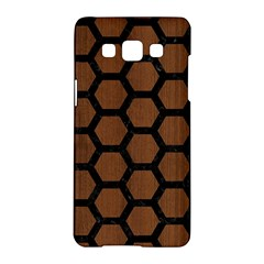 Hexagon2 Black Marble & Brown Wood (r) Samsung Galaxy A5 Hardshell Case  by trendistuff