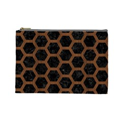 Hexagon2 Black Marble & Brown Wood Cosmetic Bag (large) by trendistuff