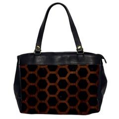 Hexagon2 Black Marble & Brown Wood Oversize Office Handbag by trendistuff