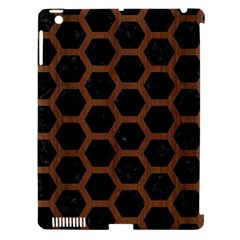 Hexagon2 Black Marble & Brown Wood Apple Ipad 3/4 Hardshell Case (compatible With Smart Cover) by trendistuff